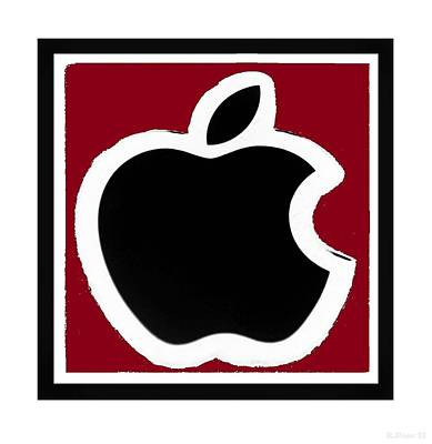 Black Apple With Red Poster by Rob Hans