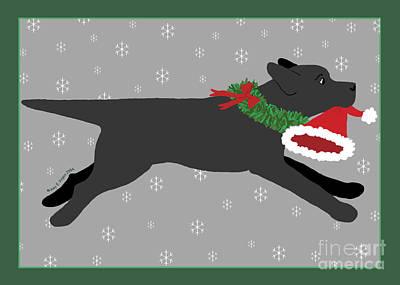 Black Labrador Steals Santa's Hat Poster