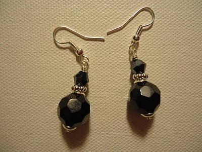 Black Sparkle Drop Earrings Poster by Jenna Green