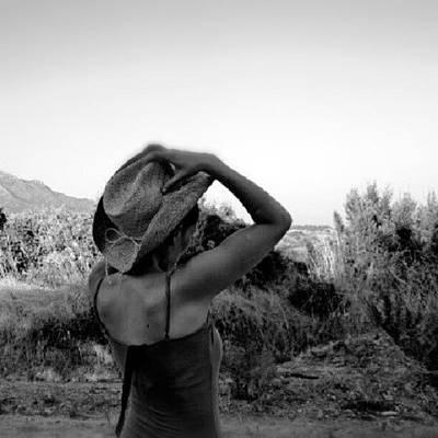 #blackandwhite #girl #hat #nature Poster