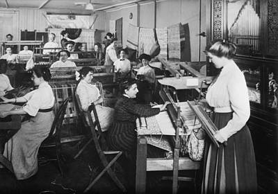 Blind Women Weaving At Looms Poster