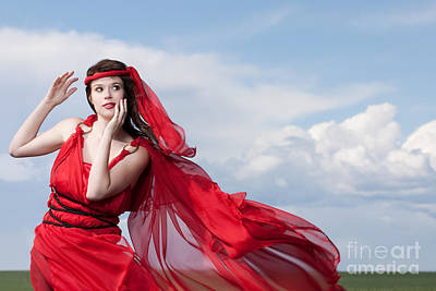 Blown Away Woman In Red Series Poster by Cindy Singleton