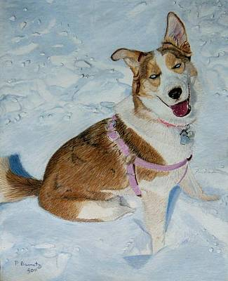 Blue - Siberian Husky Dog Painting Poster
