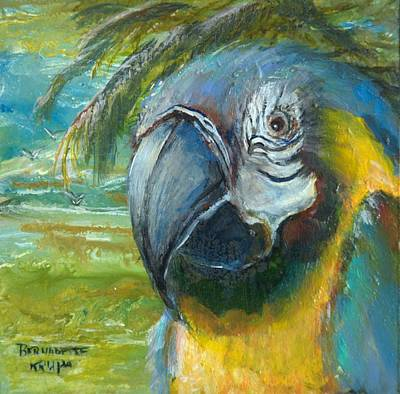 Blue And Gold Macaw By The Sea Poster by Bernadette Krupa