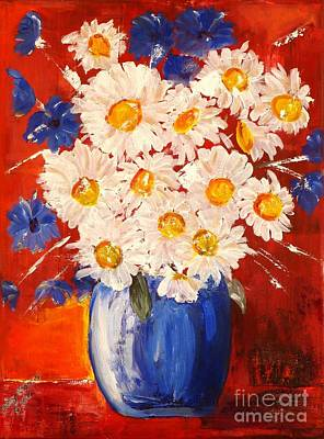 Blue And White Flowers Poster by Judy Morris