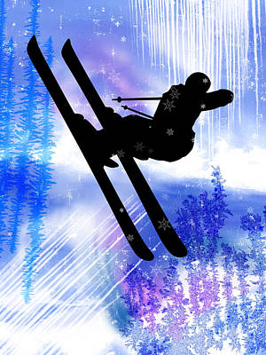 Blue And White Splashes With Ski Jump Poster by Elaine Plesser
