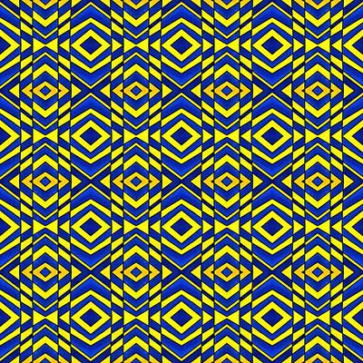 Blue And Yellow Chevron Pattern Poster