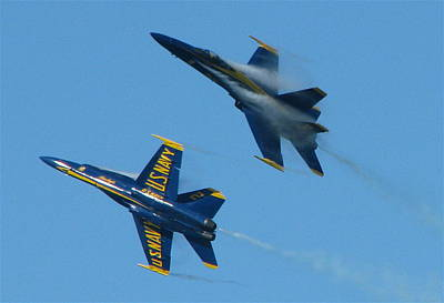 Poster featuring the photograph Blue Angels Break by Samuel Sheats
