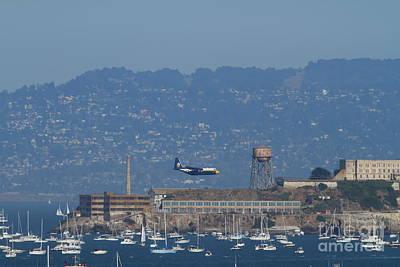 Blue Angels Fat Albert C130t Hercules Across San Francisco Alcatraz . 7d7937 Poster