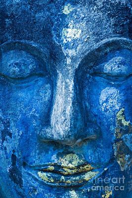 Poster featuring the photograph Blue Buddha  by Luciano Mortula