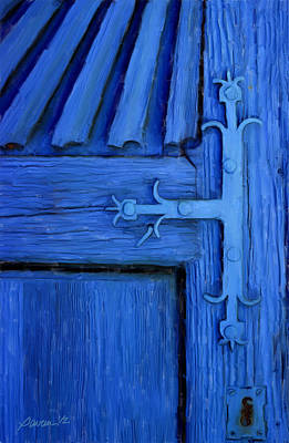 Blue Church Door Poster by Jim Pavelle