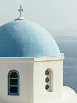 Blue Domed Greek Church Poster by Jennifer Squires
