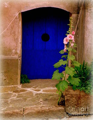 Blue Door And Pink Hollyhocks Poster