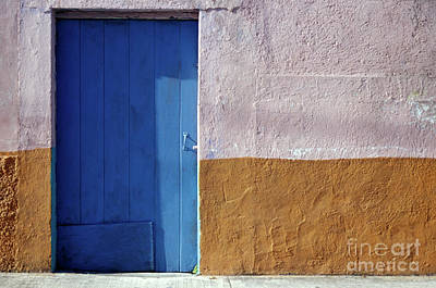 Poster featuring the photograph Blue Door Cozumel Mexico by John  Mitchell