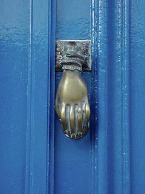 Blue Door With Brass Hand Knocker, France Poster