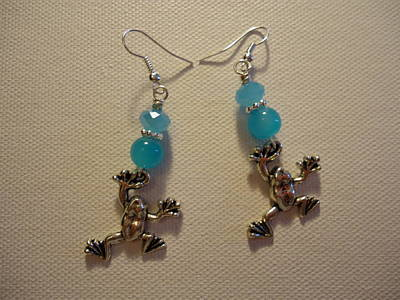 Blue Frog Earrings Poster by Jenna Green