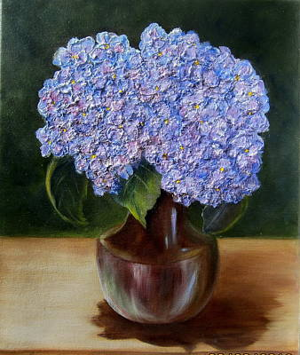 Poster featuring the painting Blue Hydrangea  by Susan Dehlinger