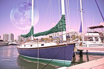 Blue Moon Harbor II Poster by Betsy Knapp