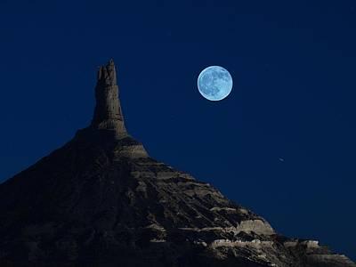 Blue Moon Over Chimney Rock Poster