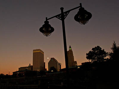 Poster featuring the photograph Blue Moon Over Downtown Providence 1 by Nancy De Flon