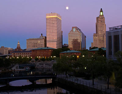 Poster featuring the photograph Blue Moon Over Downtown Providence 2 by Nancy De Flon