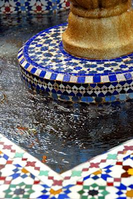 Blue Mosaic Fountain II Poster