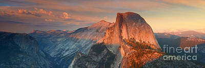 Blue Orange Sunset Half Dome Yosemite Panoramic  Poster