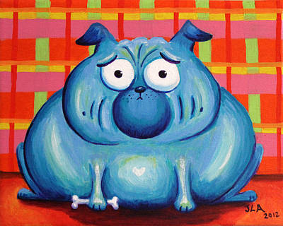 Blue Pudgy Pug Poster