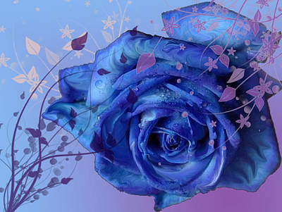 Blue Rose Poster by Barbara Giordano