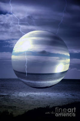 Poster featuring the photograph Blue Sea Hover Bubble by Vicki Ferrari