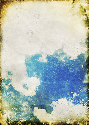 Blue Sky And Cloud On Old Grunge Paper Poster