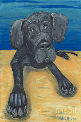 Blue The Great Dane Pup Poster by Ania M Milo