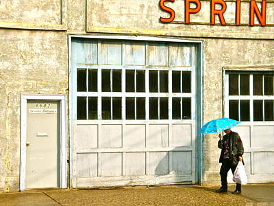 Poster featuring the photograph Blue Umbrella by Brian Sereda