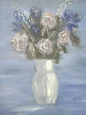 Poster featuring the painting Blue Vase by Angela Stout