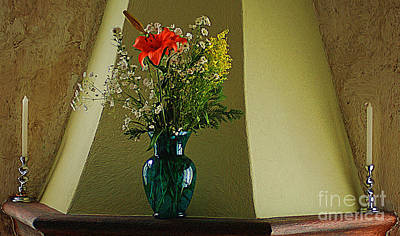 Poster featuring the digital art Blue Vase With Orange Flower by John  Kolenberg