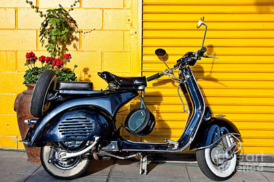 Poster featuring the photograph Blue Vespa Profile by Sonny Marcyan
