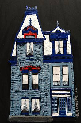 Blue Victorian Mansion Montreal Poster