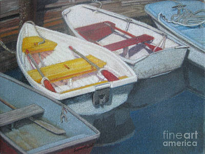 Blue Yellow And Red Boats Tremont Maine Poster by Susan Herbst