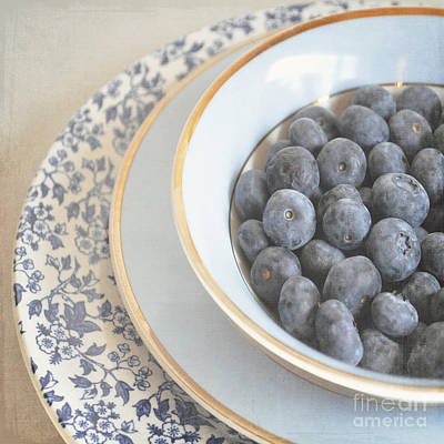 Blueberries In Blue And White China Bowl Poster by Lyn Randle