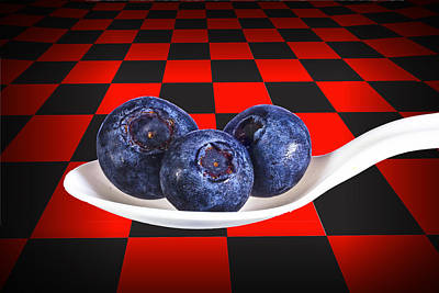 Blueberries On White Spoon Against Checker Board Background Poster by Randall Nyhof