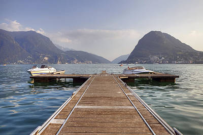 Boat Dock On Lake Lugano Poster