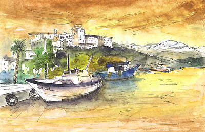 Boat In Agia Galini 03 Poster by Miki De Goodaboom