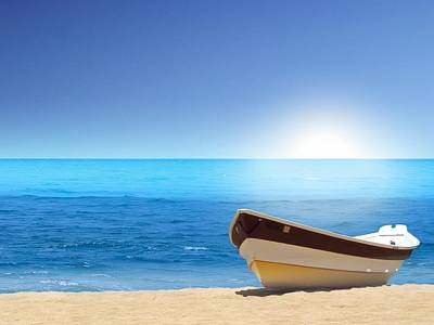 Boat-sea-beach-normal Poster by Mohamed Riyah