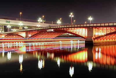 Boat Trails Under Bridge At Night Poster by By Counteragent