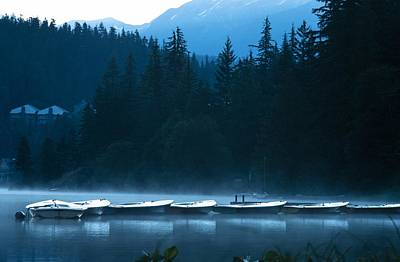 Boats In Early Morning Poster by Ron Nickel