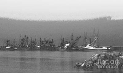 Boats In Harbor Charcoal Poster by Chalet Roome-Rigdon