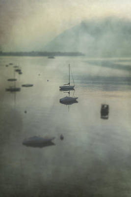 Boats In Mist Poster