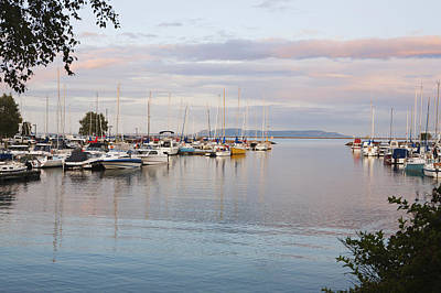 Boats In The Harbour At Sunset Thunder Poster