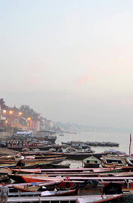 Boats On Ganges River In Morning Poster