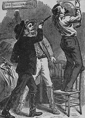 Bob Ford Murdering Jesse James. His Poster by Everett